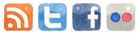 Web 2.0 Watercolor Social Media Icons