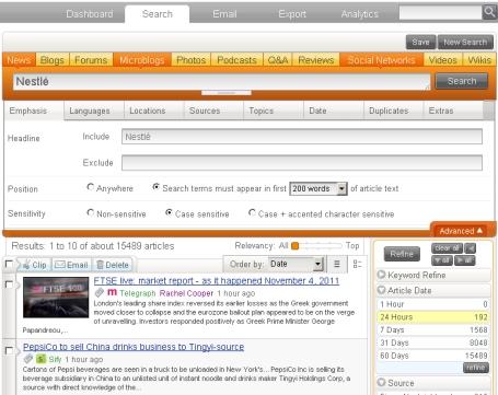 Newsdesk Media Monitoring new Emphasis filter